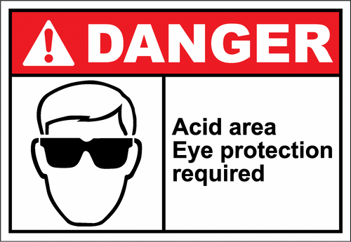 Danger Sign acid area eye protection required