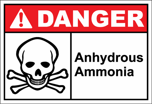 Danger Sign anhydrous ammonia