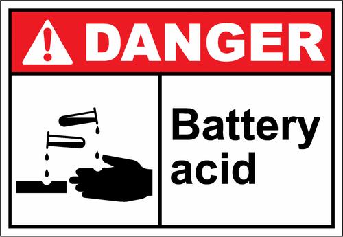 Danger Sign battery acid