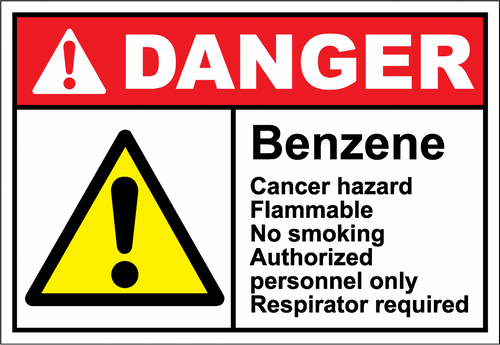 Danger Sign benzene cancer hazard flammable no smoking