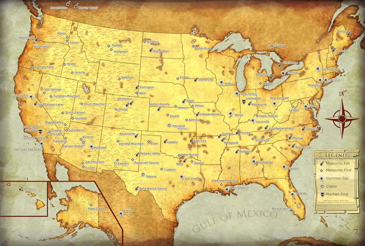 Meteorites of the United States Map Large Canvas Suitable for