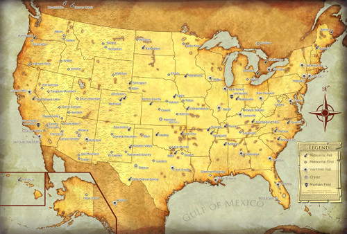 Meteorites Of The United States Map Meteorites For Sale Galactic - United states map picture frame