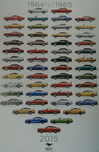 Mustang 50 Years 1964 1/2 to 2015 Poster