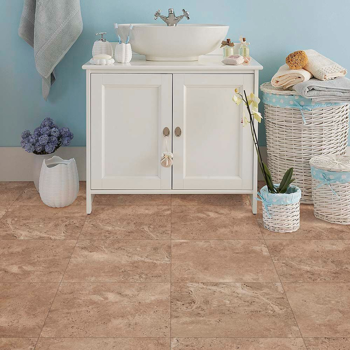 Perfection floor tile natural stone travertine narvana elite perfection floor tile narvana used in a bathroom setting dailygadgetfo Images