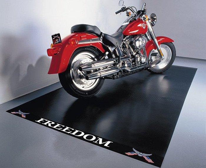 Motorcycle Mat with Freedom Label Black