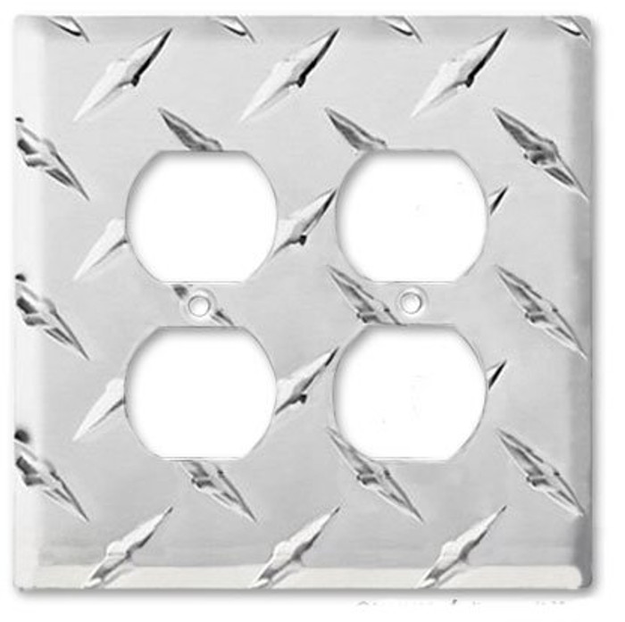 Diamond Plate Aluminum Double Outlet