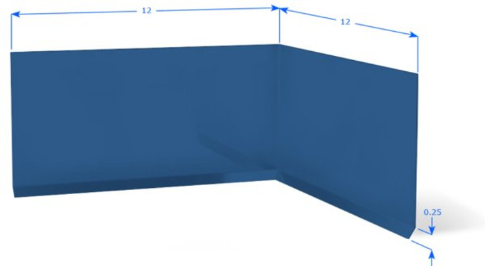 Aluminum Wall Base Molding Inside Corner Blue