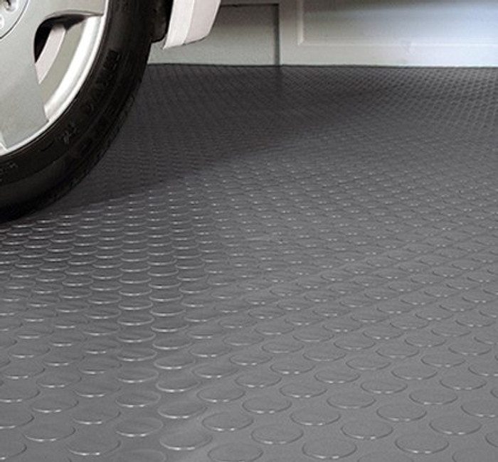 G Floor Coin Pattern Grey with car parked on top