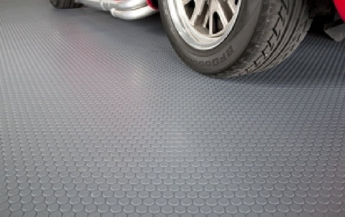 G Floor Roll Out Garage Flooring in Small Coin Slate Grey