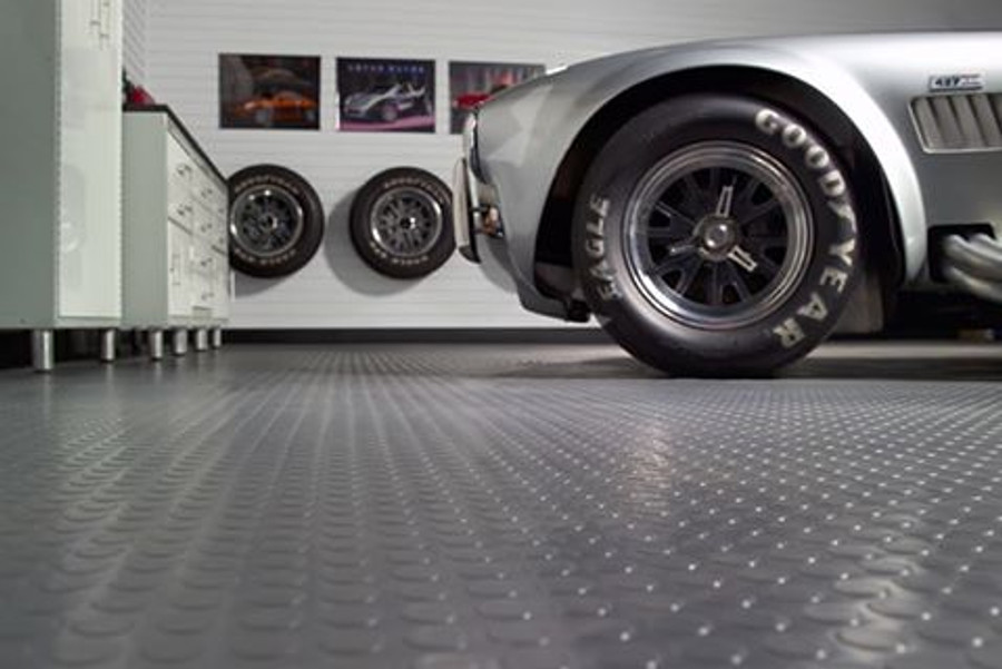 G-Floor Coin Pattern Roll Out Floor Covering Slate Grey Used in a Garage
