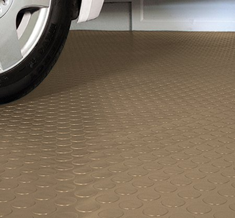 G-Floor Coin Pattern Rollout Garage Floor covering in Sandstone Tan