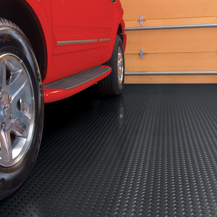 G-Floor Diamond Tread Pattern, Roll Out Garage Flooring Midnight Black