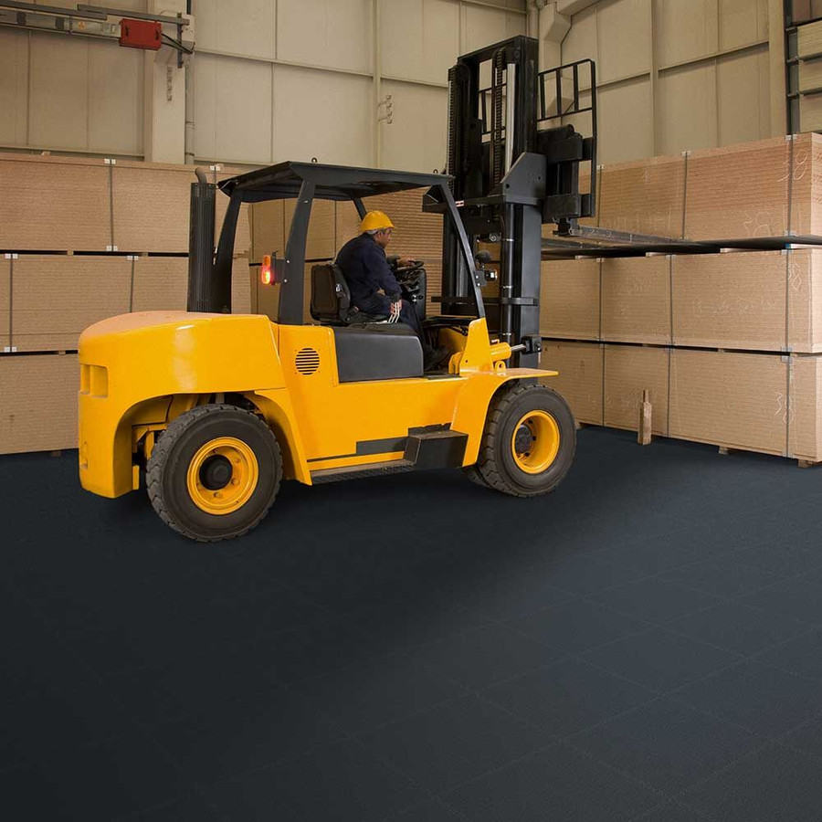 Perfection Floor Tile Flexi-Tile Industrial Smooth 7MM with a forklift