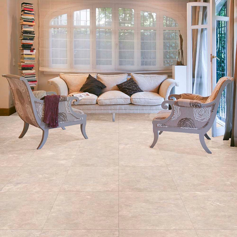 Perfection Floor Tile Fieldstone in a living room setting.