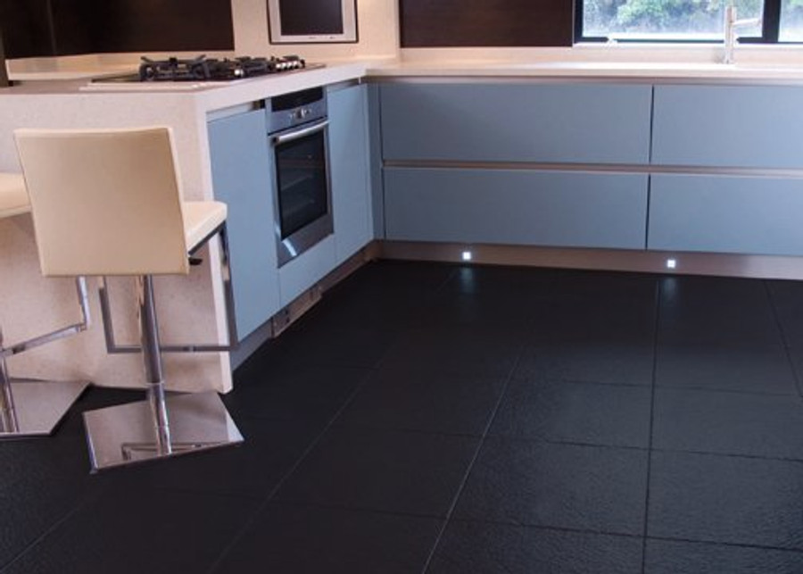 Perfection Floor Tile Slate Black in a kitchen