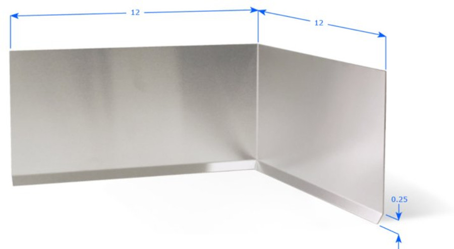 """Premolded Inside Corner with 12"""" Wings, and 1/4"""" Cove Bend, Brushed Aluminum 18 GA"""