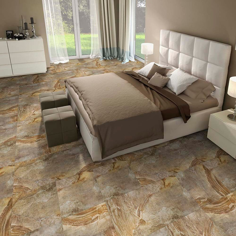 Canyon Stone in a bedroom setting. Flexi Tile Natural Stone Canyon Stone. Perfection Floor Tiles