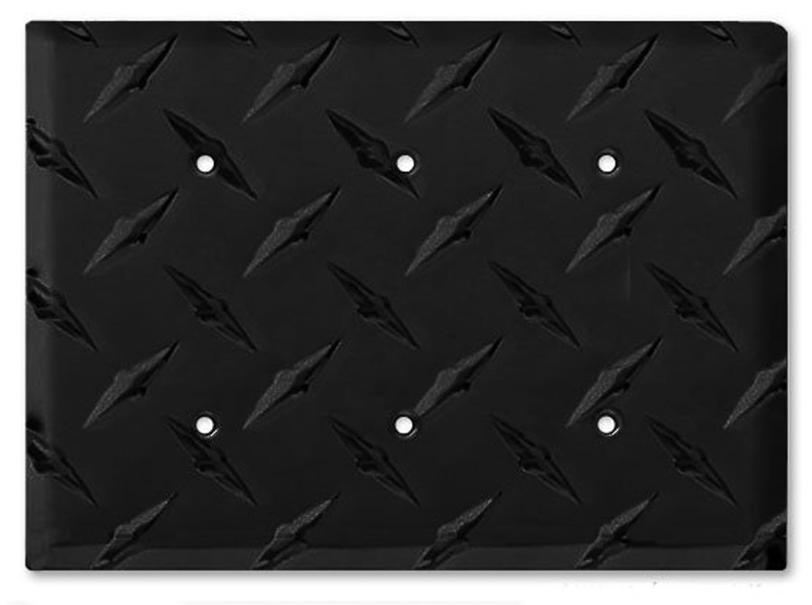 Black Aluminum Diamond Plate Triple Blank Outlet Cover