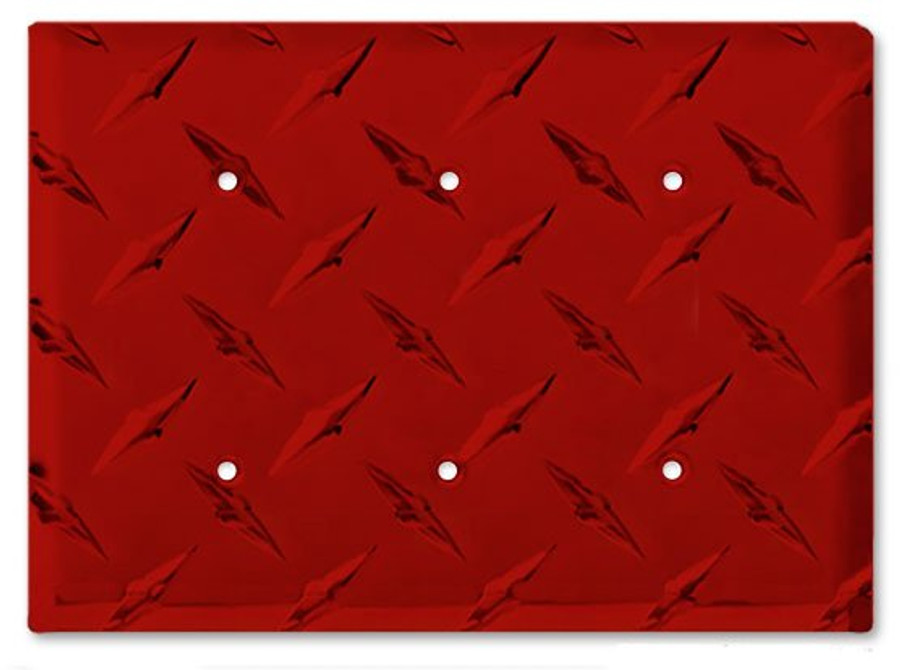 Red Aluminum Diamond Plate Triple Blank Outlet Cover