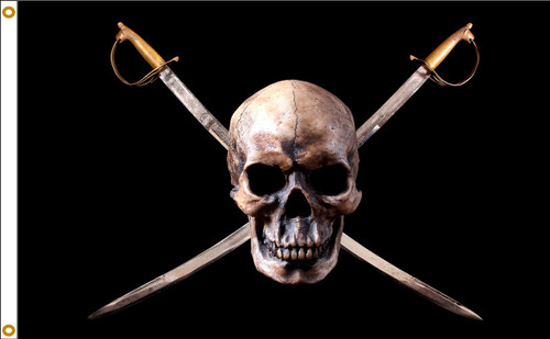 PIRATE SKULL 3X5' NYLON FLAG