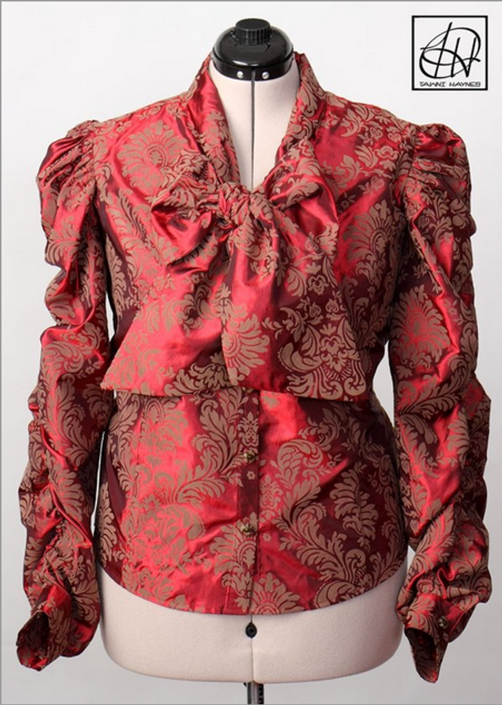 TAWNI HAYNES DAMASK BOW BLOUSE W/V NECK, LONG RUCHED SLEEVES