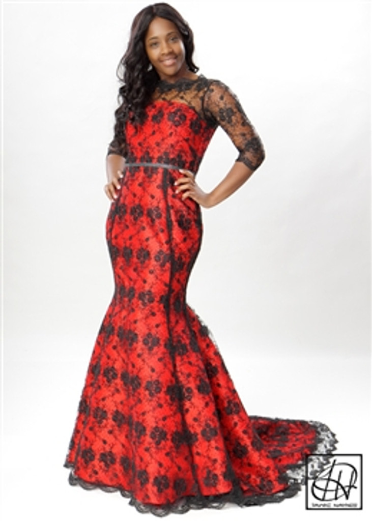 TAWNI HAYNES LACE OVERLAY FIT-THEN-FLARE DRESS