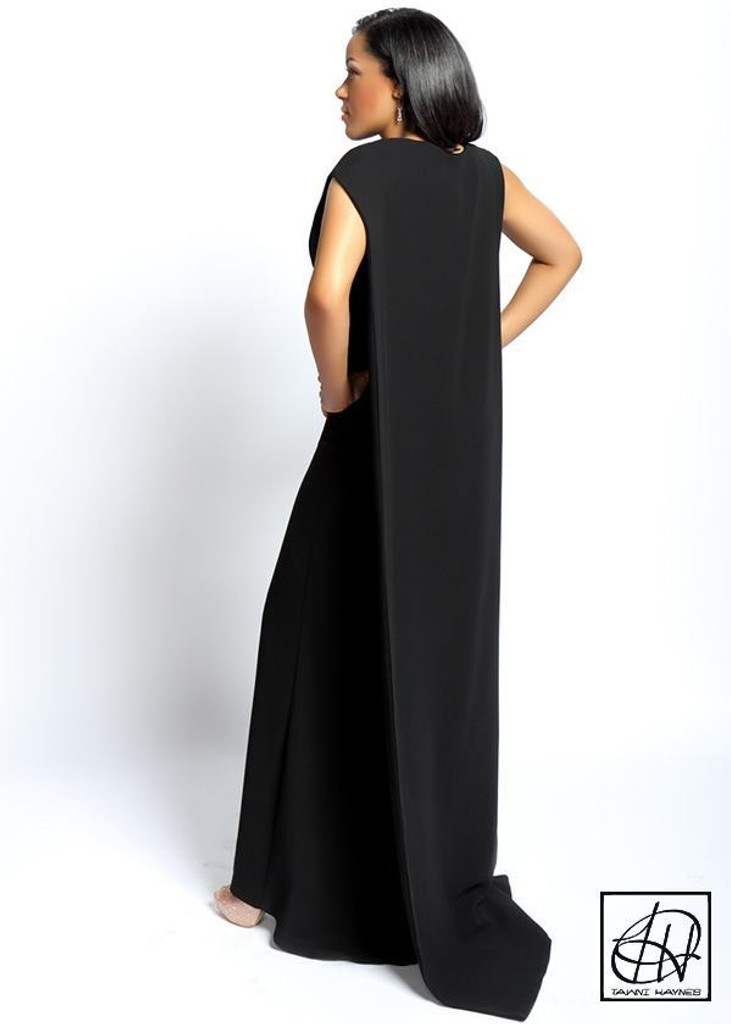 TAWNI HAYNES SLEEVELESS CAPE GOWN