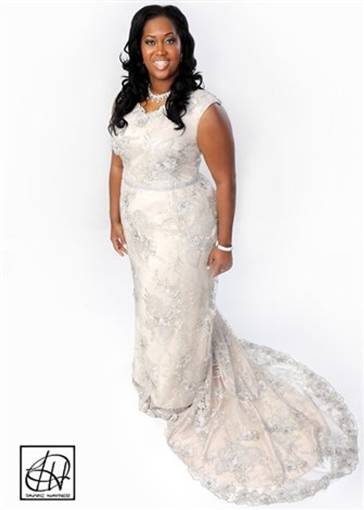 TAWNI HAYNES V-NECK CAP SLEEVE BEADED GOWN (CUSTOM)