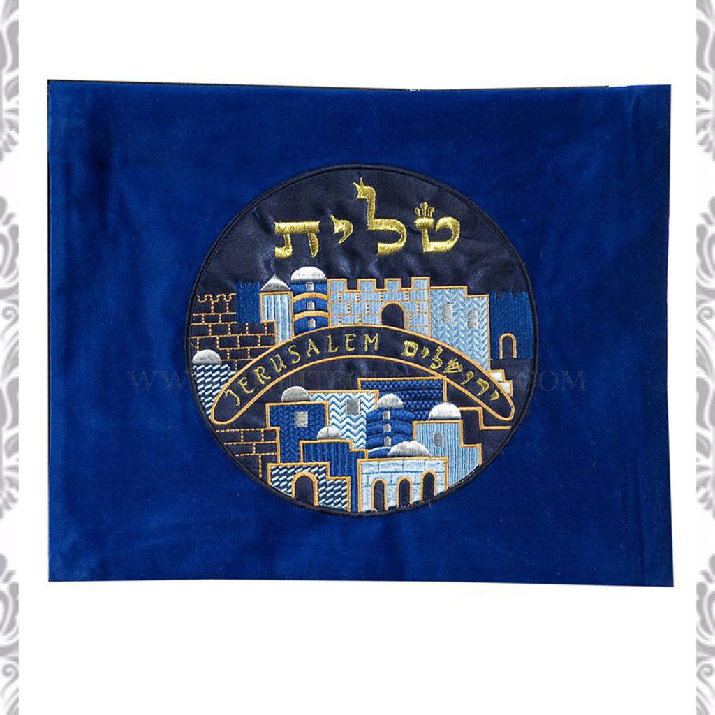 Embroidered Velvet Jerusalem Tallit Bag