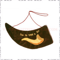 Embroidered Brown Rams Horn Bag