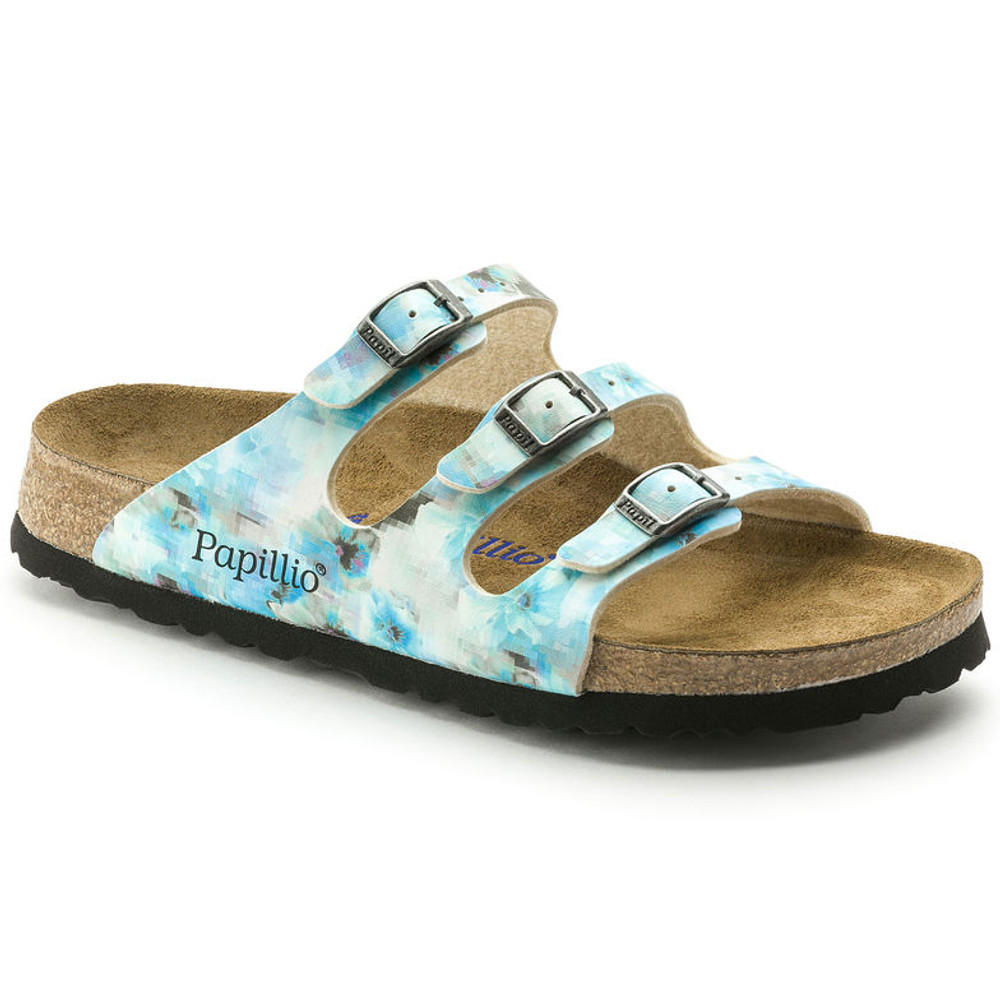 FLORIDA SOFT FOOTBED NARROW BIRKO-FLOR PIXEL BLUE