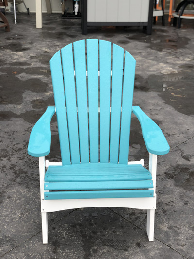 Folding Adirondack Chair Aruba Blue on White