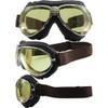 Gun metal frame, brown leather, yellow lenses