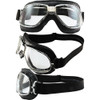 Chrome frame Black leather Clear lenses