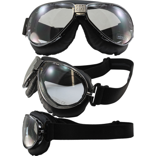 Gun metal frame, black leather, clear lenses