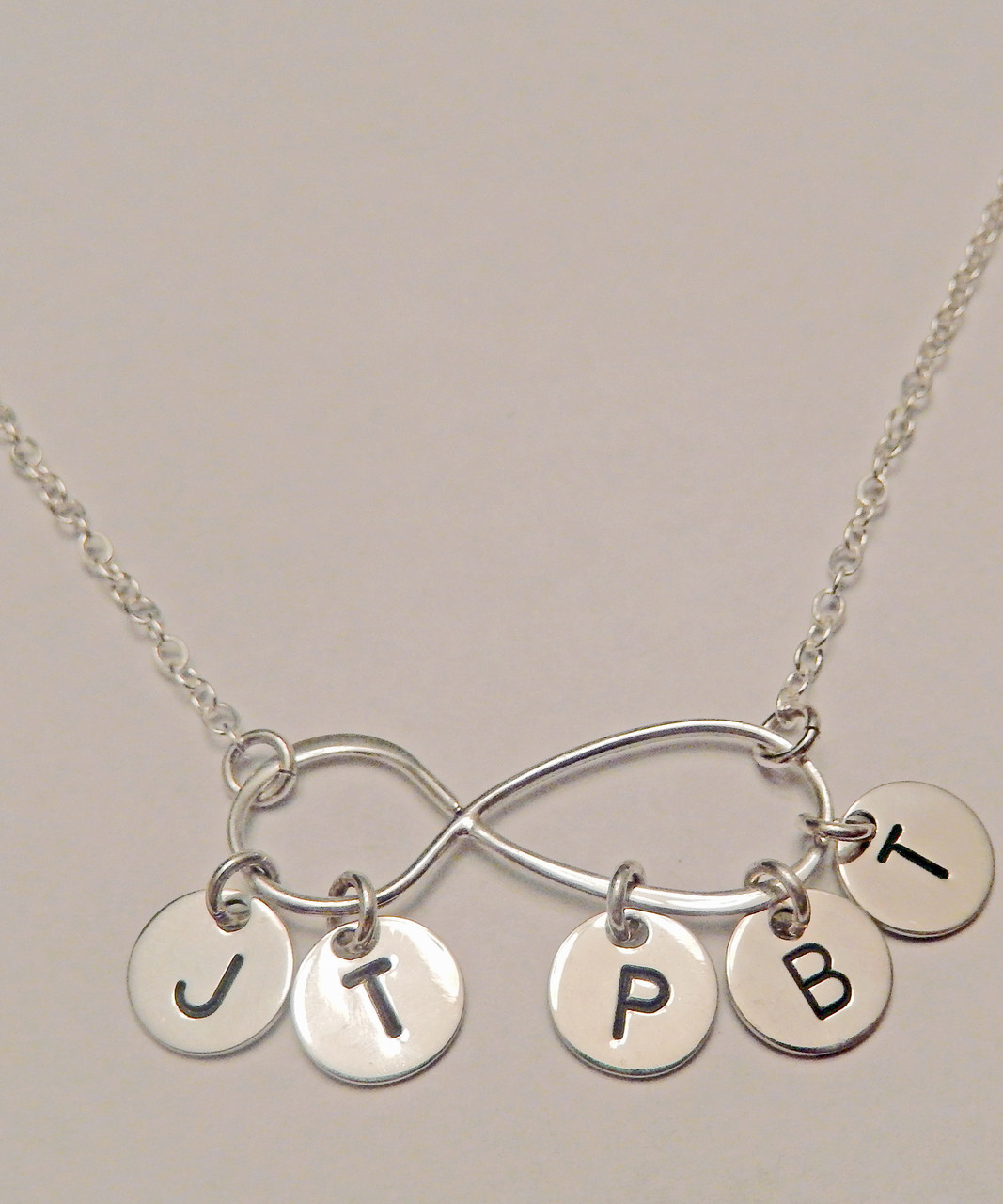 Large Infinity With Hanging Initials Necklace Sterling Heart Songs