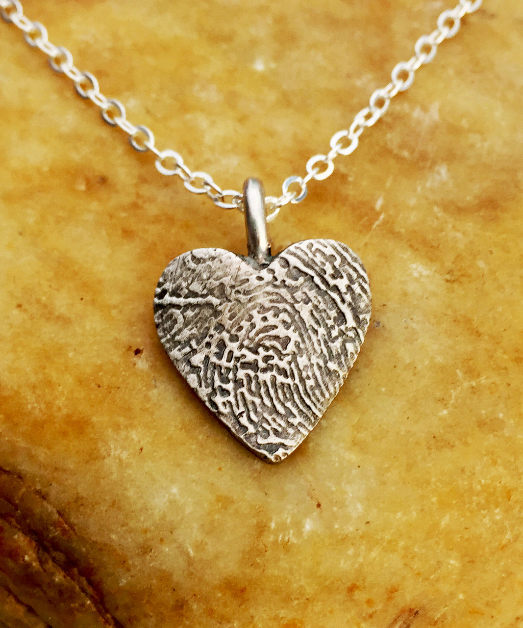 signature by larger fingerprint or silver necklace pendant charm personalised heart and bronze button view l