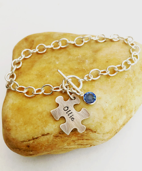 Hand Stamped Puzzle Piece Birthstone on Cable Bracelet with Toggle