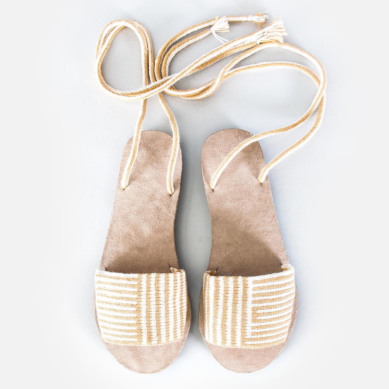 Lace-Up Stripe Sandals