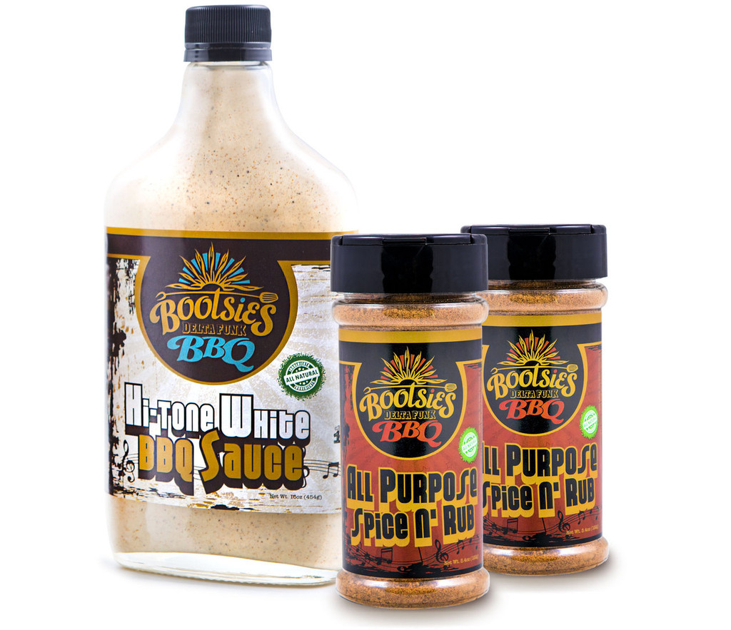 Hit me twice with Bootsie's unique All Purpose Spice n' Rub, assuring all your tender meats funk your mouth with bite after bite savoriness. Plus get a solo bottle of Bootsie's unique Hi-Tone White BBQ Sauce – With tangy high notes and earthy spice-tones that make it an instant crowd pleaser.