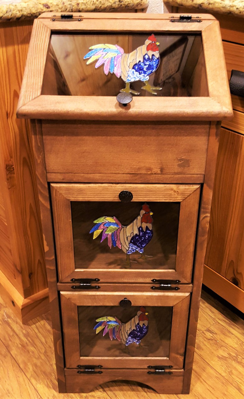 Potato Vegetable Storage Bin   Colorful Tail Rooster (A)