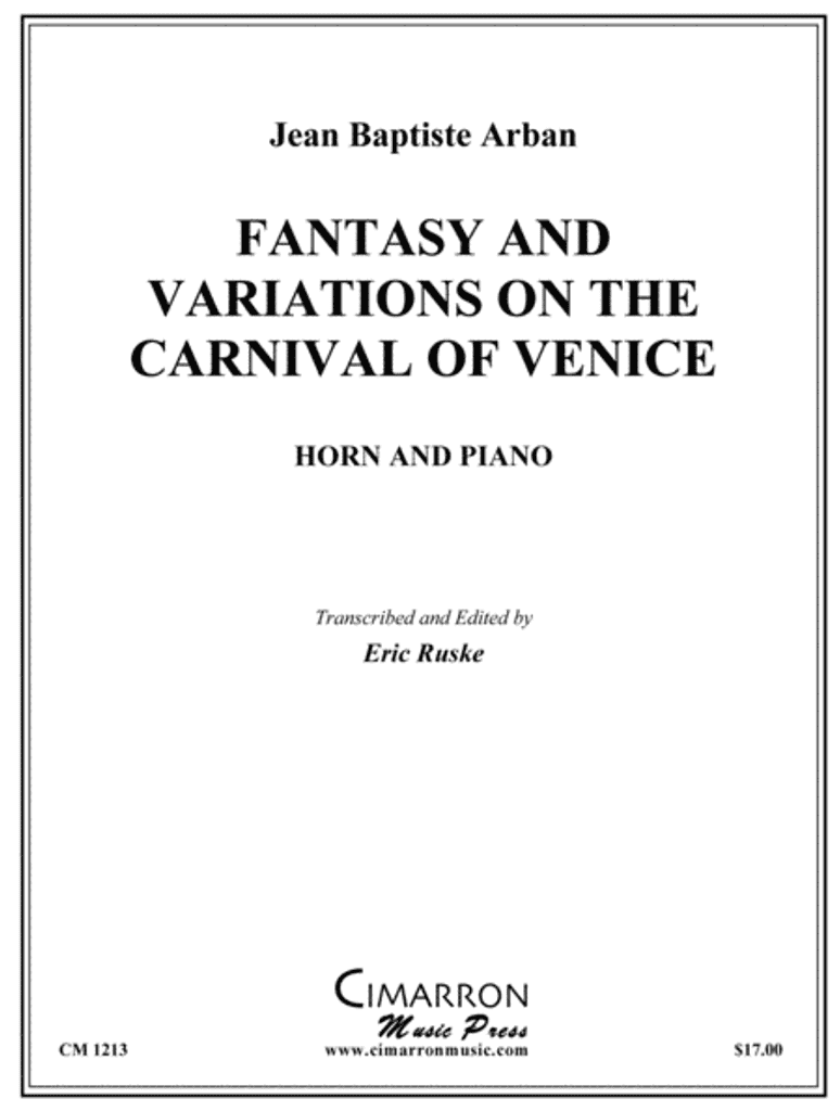 Arban, Jean Baptiste - Fantasy and Variations on The Carnival of Venice (image 1)