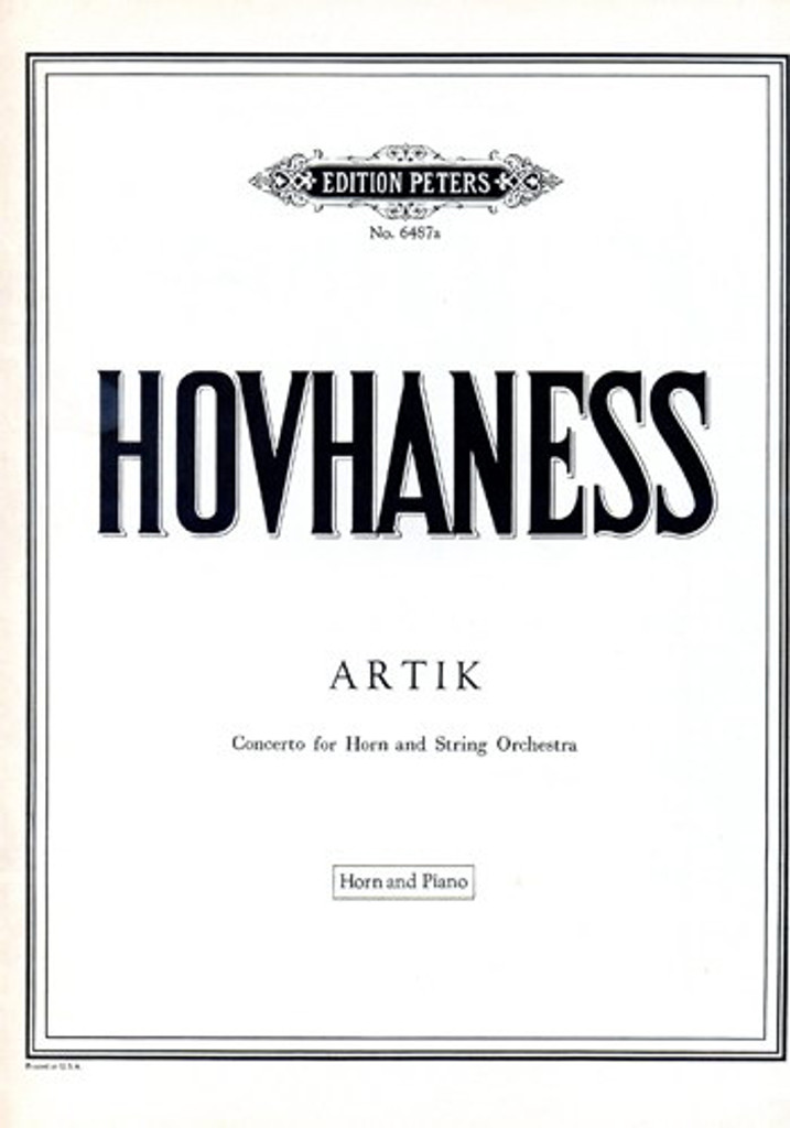 Hovhaness, Alan - Artik for Horn & Orchestra (Piano Reduction)