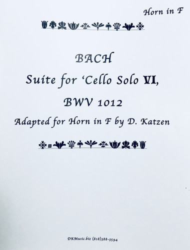 Bach, J.S. - Suite for Cello VI BWV 1012 (Adapted for Solo Unaccompanied Katzen