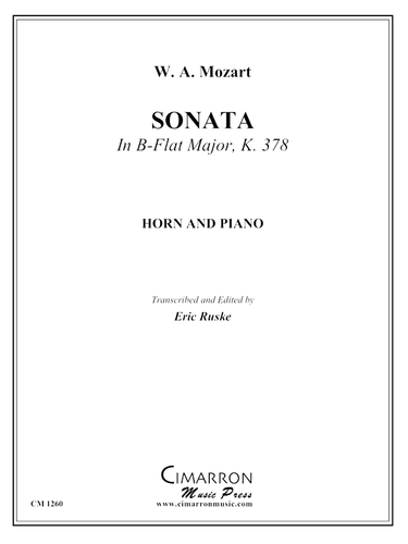 Mozart, W.A. – Sonata in B-flat Major, K. 378 (image 1)