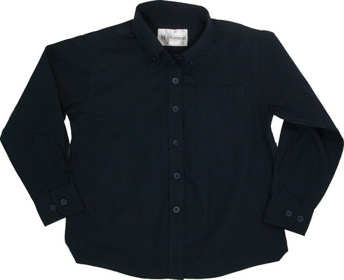 Girls Navy Broadcloth School Blouse Long Sleeve