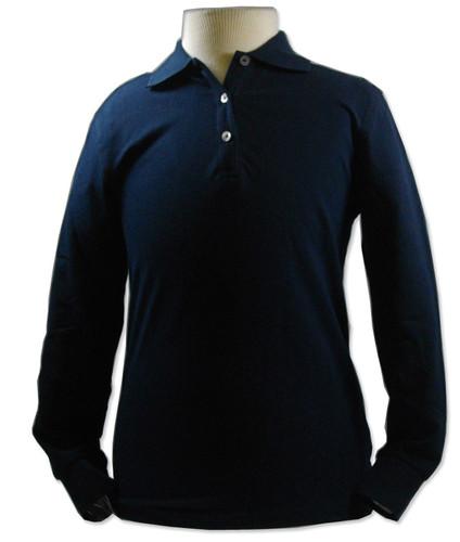 Peachy Black Knit Long Sleeve Polo