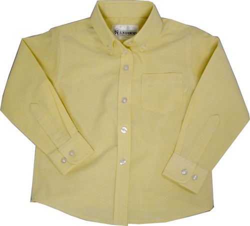 Junior Girls Yellow Oxford School Blouse Long Sleeve