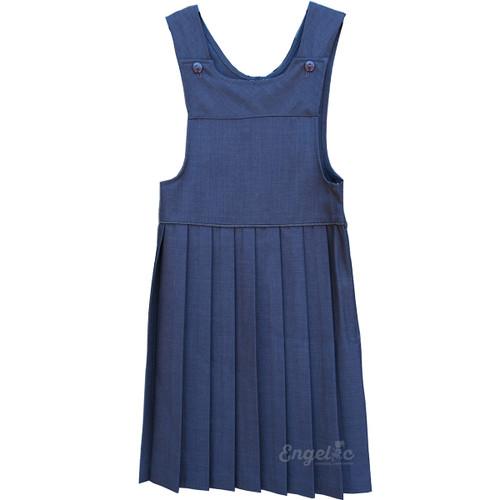 Girls School Uniform Pleated Two Strap Jumper Grey English Poly 6-10
