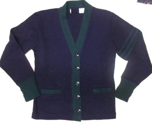Sweater V-neck Cardigan Kids Navy w/Green Trim Acrylic